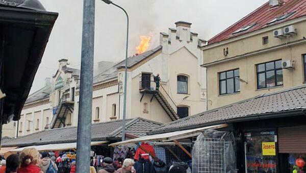 Пожар на одном из рынков Риги - Sputnik Латвия