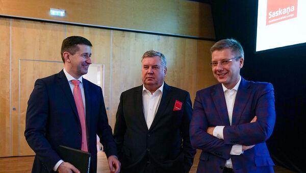 Partijas Saskaņa kongress. Vjačeslavs Dombrovskis, Jānis Urbanovičs un Nils Ušakovs - Sputnik Latvija