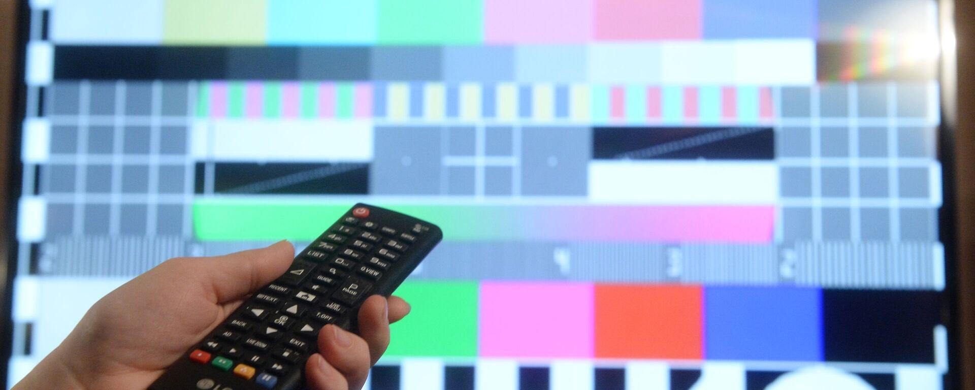 Телевизионная испытательная таблица на экране телевизора - Sputnik Латвия, 1920, 28.09.2021
