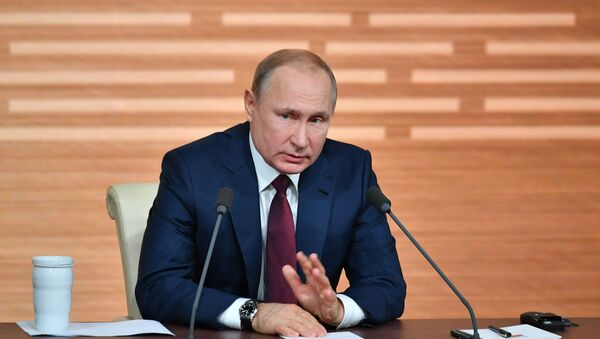 Президент РФ Владимир Путин дает ежегодную большую пресс-конференцию, 19 декабря 2019 - Sputnik Латвия