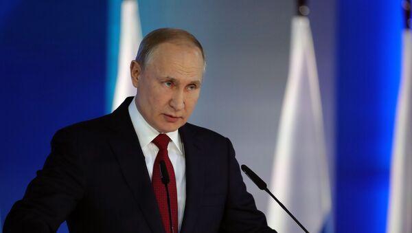 Президент РФ Владимир Путин выступает с ежегодным посланием Федеральному собранию - Sputnik Латвия
