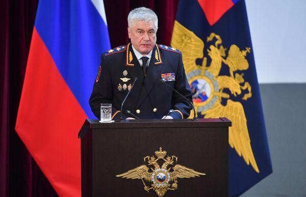 Министр внутренних дел РФ Владимир Колокольцев выступает на ежегодном расширенном заседании коллегии министерства - Sputnik Латвия