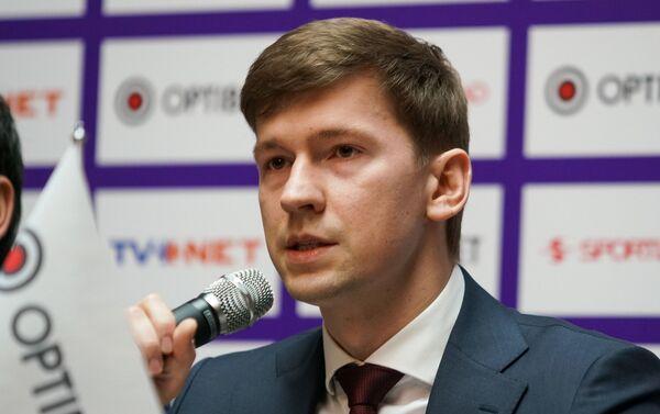 Пресс-конференция перед началом сезона латвийской футбольной вирслиги. Максим Кривунец - Sputnik Латвия