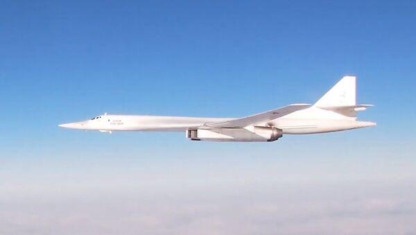 Российские стратегические ракетоносцы  Ту-160 совершили пятнадцатичасовой полет - Sputnik Latvija