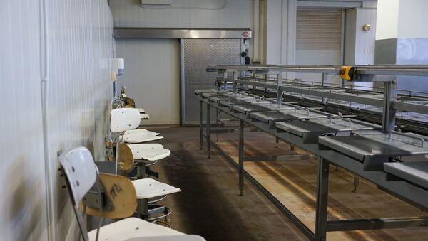 Простаивающий конвейер и пустые рабочие места в консервном цеху после массовых сокращений - Sputnik Latvija