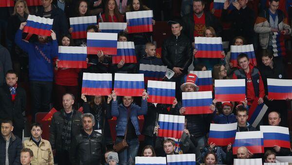Krievijas izlases līdzjutēji hokeja mačā. Foto no arhīva - Sputnik Latvija