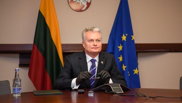 Президент Литвы Гитанас Науседа на видеосвязи с президентами балтийских стран - Sputnik Latvija