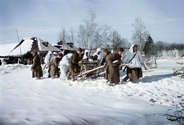 Однополчане, запрягшись в сани, везут раненых в медпункт, 1942 год. - Sputnik Латвия