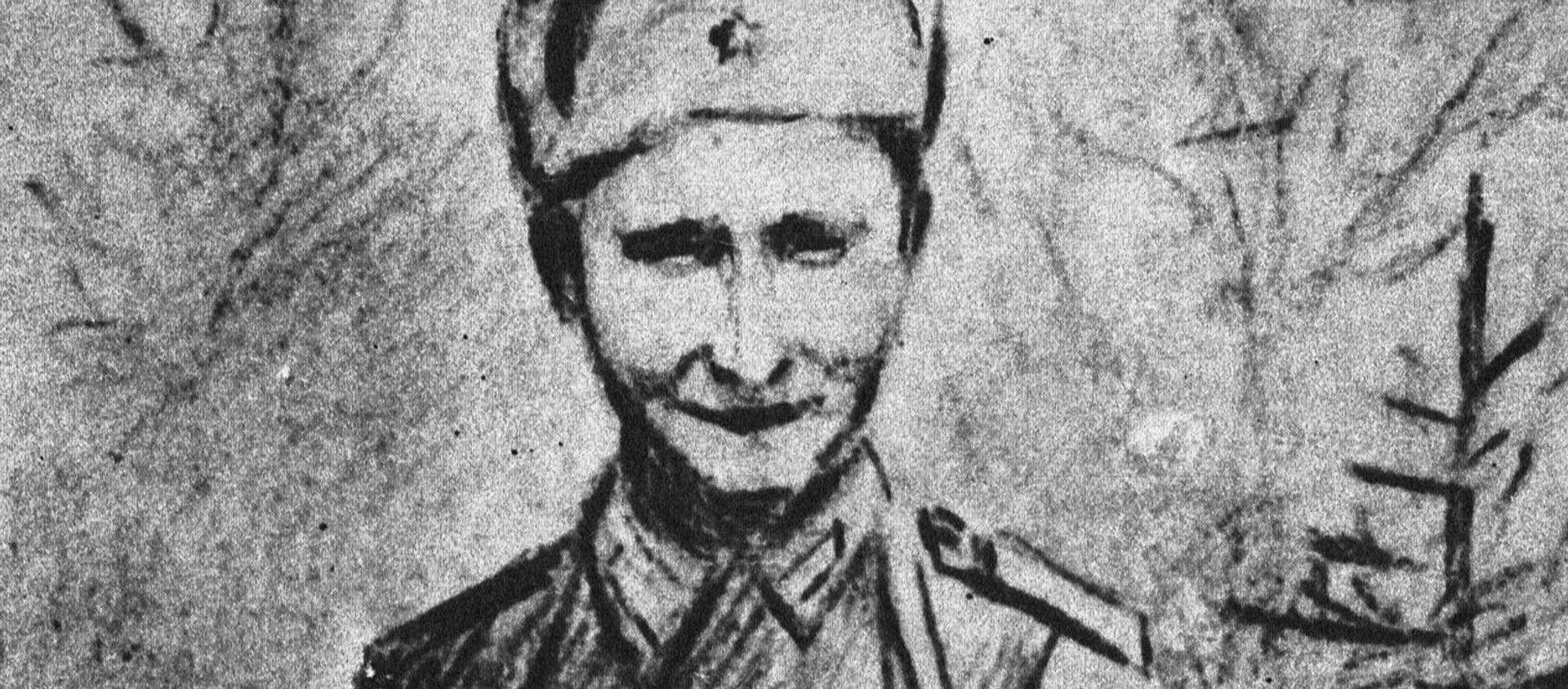 Гвардии сержант Николай Спрингис, 1943 год, рисунок Е.Ванага - Sputnik Latvija, 1920, 13.05.2020