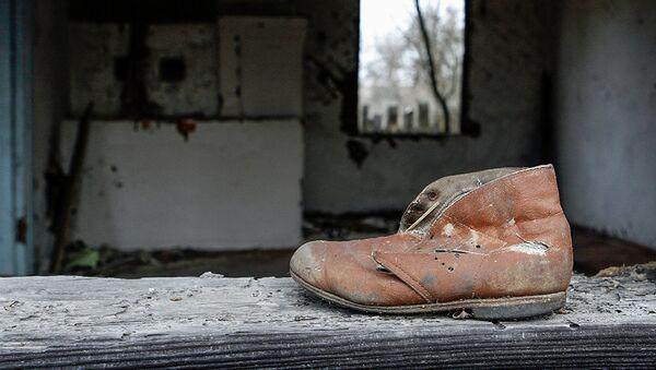 Детский ботинок на подоконнике дома деревни Ломачи, отселенной в 1990-1991 годах - Sputnik Latvija