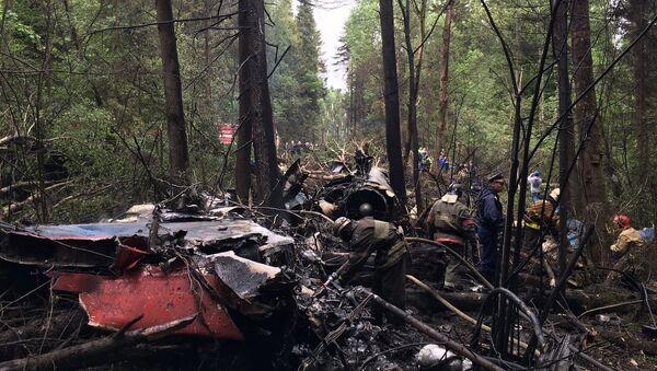 На месте крушения истребителя Су-27 в Подмосковье - Sputnik Latvija