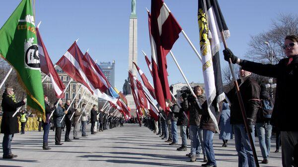 Марш ветеранов латышского легиона СС в Риге - Sputnik Латвия
