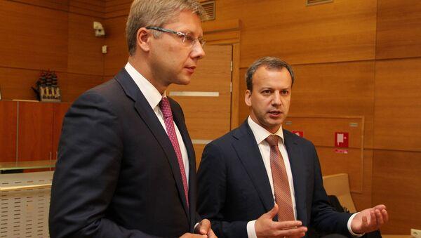 Встреча мэра Риги Нила Ушакова с вице-премьером России Аркадием Дворковичем - Sputnik Латвия