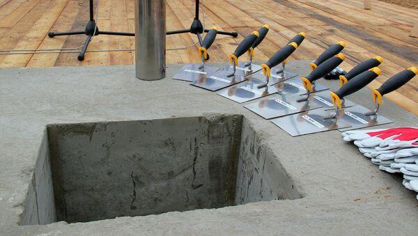 Торжественное бетонирование капсулы в фундамент комплекса музейных хранилищ - Sputnik Латвия