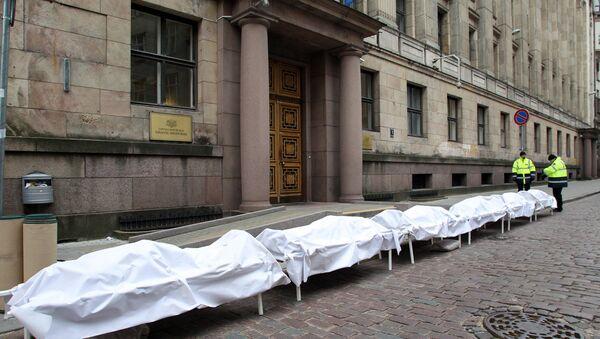 Протест медицинских работников у здания Министерства финансов в Риге - Sputnik Латвия