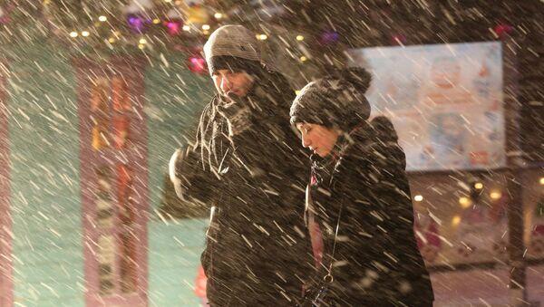 Прохожие во время снегопада - Sputnik Латвия