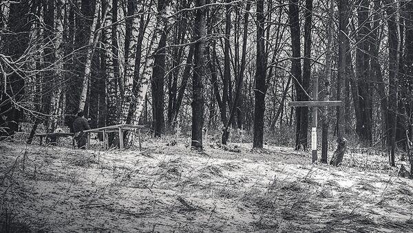 Памятный крест на старом латышском кладбище Кашкуринского сельсовета - Sputnik Латвия