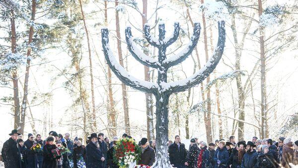 Мероприятие в Румбульском мемориале, посвященном 75-й годовщине уничтожения евреев из Рижского гетто - Sputnik Латвия