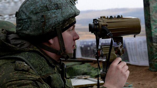 Командно-наблюдательный пункт во время комплексной тренировки - Sputnik Latvija