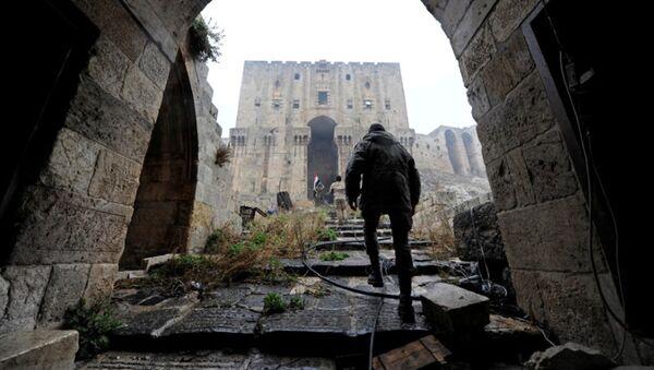 Военослужащие Сирии на территории исторической цитадели Алеппо - Sputnik Латвия