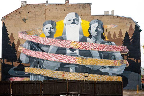 Lielākais grafiti zīmējums Baltijas valstīs Saule. Pērkons. Daugava – mākslinieku Kiwie un  Rudens Stencil darbs pēc 1938. gada Dziesmu un deju svētku plakāta motīviem Tallinas ielā 46 - Sputnik Latvija
