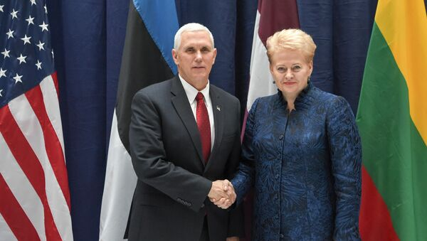 Президент Литвы Даля Грибаускайте и вице-президент США Майкл Пенс после встречи на полях Мюнхенской конференции по безопасности - Sputnik Латвия