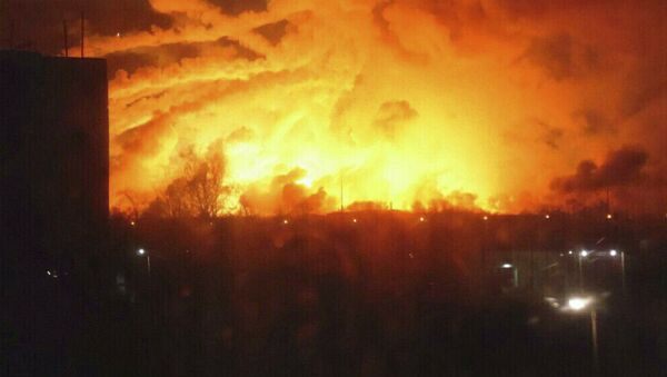 Ugunsgrēks munīcijas noliktavā Balaklejā - Sputnik Latvija
