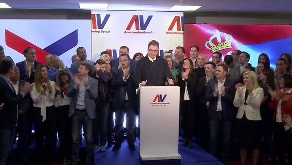 Вучич празднует победу в президентских выборах в Сербии - Sputnik Латвия