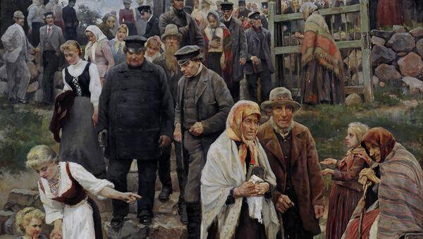 Фрагмент картины Яниса Розенталса Из церкви (После богослужения) - Sputnik Латвия