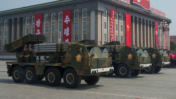 Korejas Tautas armijas starpkontinentālo ballistisko raķešu palaišanas iekārtas - Sputnik Latvija
