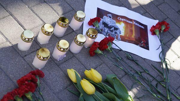 Митинг памяти мирных граждан, сожженных в Одессе 2 мая 2014 года - Sputnik Латвия