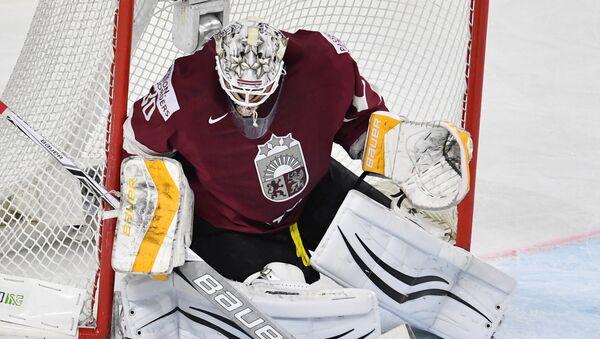 Вратарь сборной Латвии Элвис Мерзликин в матче группового этапа чемпионата мира по хоккею 2017 - Sputnik Латвия