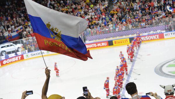 Болельщики во время матча группового этапа чемпионата мира по хоккею 2017 с участием сборной России - Sputnik Латвия