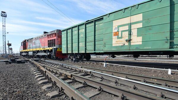 Тепловоз с грузовыми вагонами на путях - Sputnik Латвия
