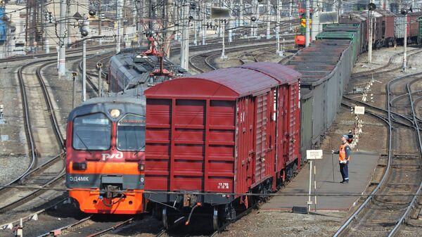 Ritošais sastāvs uz dzelzceļa sliedēm. Foto no arhīva - Sputnik Latvija
