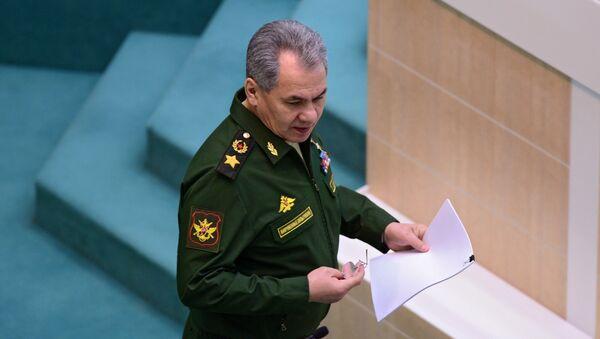 Министр обороны РФ Сергей Шойгу на заседании Совета Федерации РФ - Sputnik Latvija
