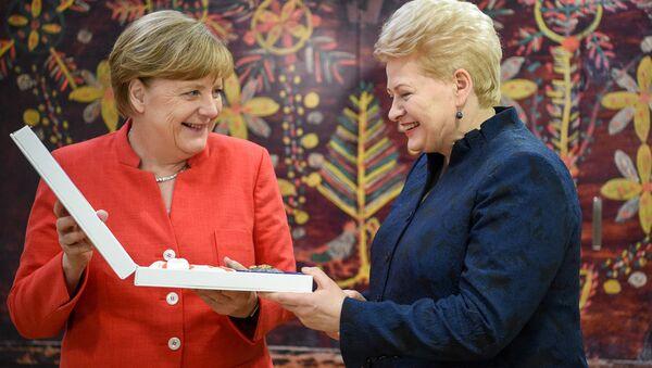 Президент Литвы Даля Грибаускайте наградила Большим крестом ордена Витаутаса канцлера Германии Ангелу Меркель - Sputnik Латвия