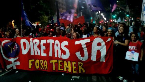 Акции протеста против президента Бразилии Мишела Темера - Sputnik Латвия