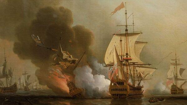 Картина Сэмюэля Скотта Морская битва при Картахене - Sputnik Латвия
