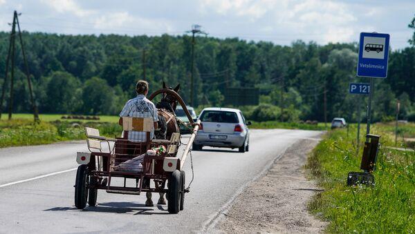Гужевой транспорт на латвийской дороге - Sputnik Латвия