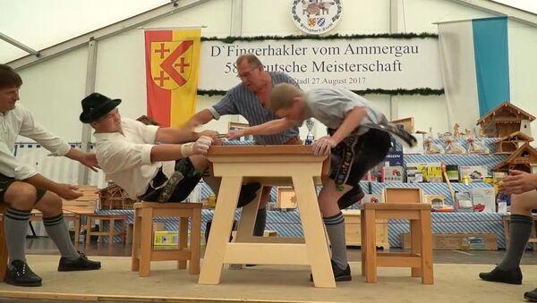 Чемпионат по армрестлингу  с использованием лишь пальцев в Баварии - Sputnik Латвия