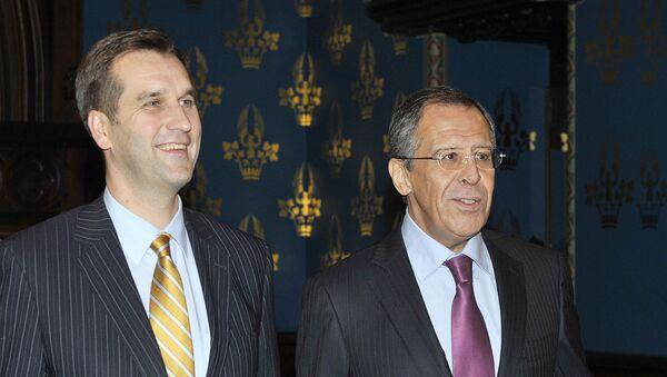 Посол Латвии Марис Риекстиньш и министр иностранных дел России Сергей Лавров, архивное фото - Sputnik Латвия