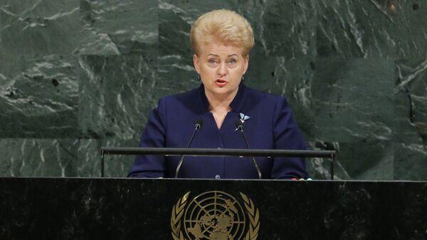 Президент Литвы Даля Грибаускайте на 72-й Генеральной Ассамблее ООН - Sputnik Latvija