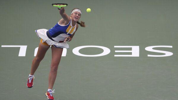 Елены Остапенко во время первого раунда матча Открытого чемпионата Кореи по теннису в Сеуле, Южная Корея - Sputnik Латвия