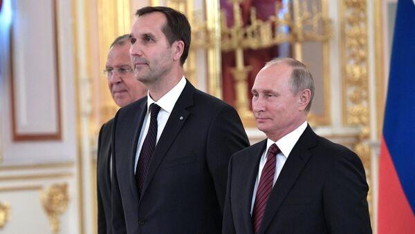 Посол Латвийской Республики Марис Риекстиньш (в центре) на церемонии вручения верительных грамот послов иностранных государств - Sputnik Латвия