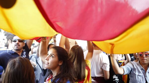 Всеобщая забастовка в поддержку референдума о независимости Каталонии в Барселоне - Sputnik Латвия