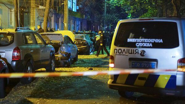 Следователи работают на месте взрыва автомобиля в центре Киева - Sputnik Латвия