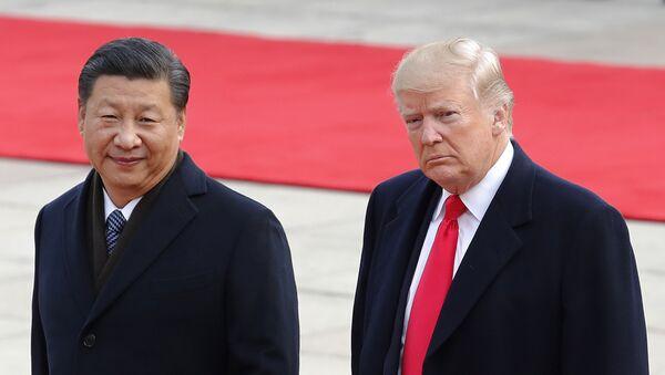 Президент США Дональд Трамп и лидер КНР Си Цзиньпин на встрече в Пекине 9 ноября 2017 г. - Sputnik Латвия