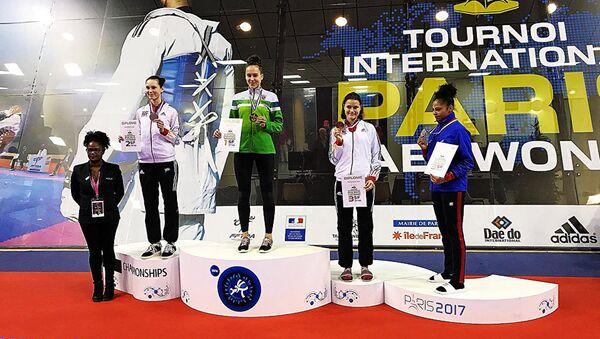 Спортсменка из Шауляй Клаудия Тваронавичюте заняла первое место на турнире тхэквондо в Париже, архивное фото - Sputnik Латвия