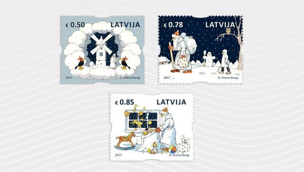 Рождественские почтовые марки, созданные иллюстратором Альбертом Кроненбергом - Sputnik Латвия